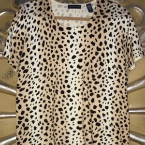 Karen Scott Sexy Leopard Sweater w/Short Sleeves